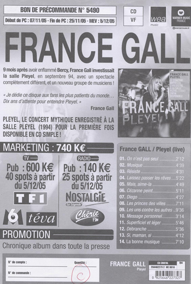 France Gall : Plan promo Pleyel